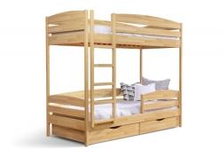 Двоярусне дитяче ліжко ДУЕТ ПЛЮС ТМ Естелла двоxярусне, двоповерхове з драбиною, матеріал бук, основа ламелі, ящики для білизни, 8 кольорів
