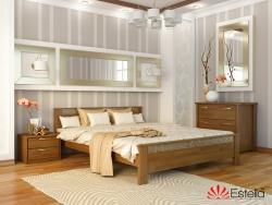 Дерев′яне ліжко АФІНА ТМ Естелла, двоспальне, матеріал бук, основа ламелі, 8 кольорів